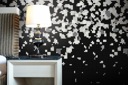 Black bits Traditional Geometric Mosaic installation by Artaic