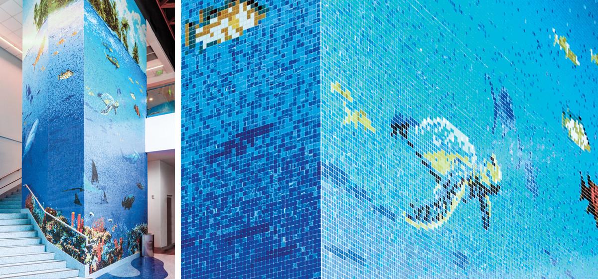 01143145 blue seascape mosaic full column mosaic texas state aquarium-3/4 vitreous glass