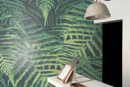 Green ferns Modern Floral Mosaic installation by Artaic