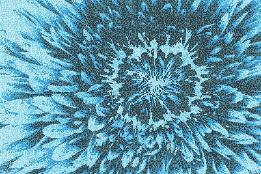 Blue Blooms Modern Floral Mosaic by Artaic