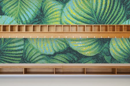 Green forest canopy Modern Floral Mosaic installation by Artaic
