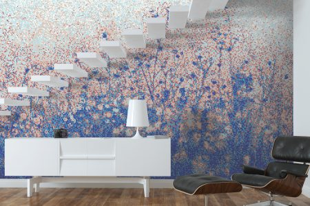 Blue Flowers Modern Floral Mosaic installation by Artaic