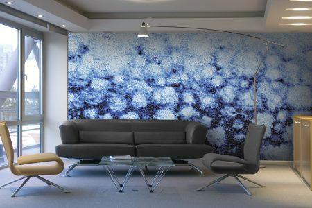 Blue hydrangeas Modern Floral Mosaic installation by Artaic