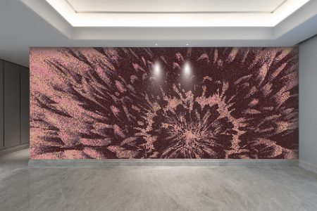 Purple Blooms Modern Floral Mosaic installation by Artaic