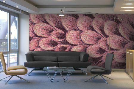 Purple flower petals Modern Floral Mosaic installation by Artaic
