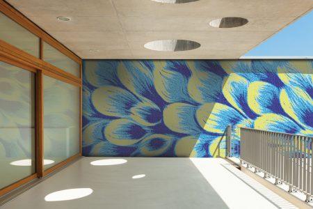 Blue flower petals Modern Floral Mosaic installation by Artaic