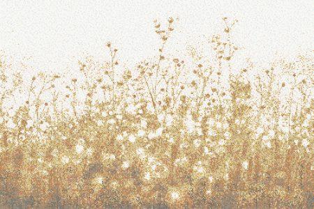 Gold Flowers Modern Floral Mosaic by Artaic