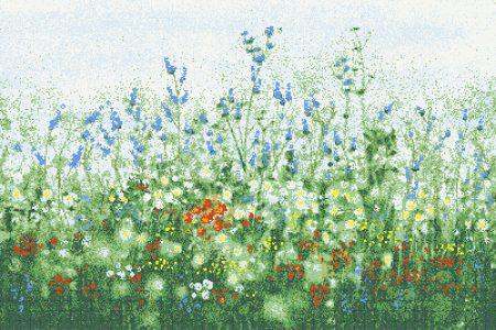 Green Flowers Modern Floral Mosaic by Artaic