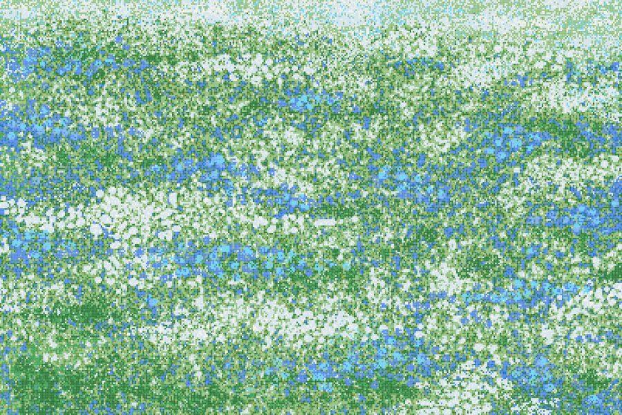 Green meadows Modern Floral Mosaic by Artaic