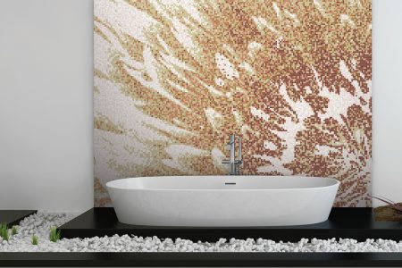 Gold Blooms Modern Floral Mosaic installation by Artaic