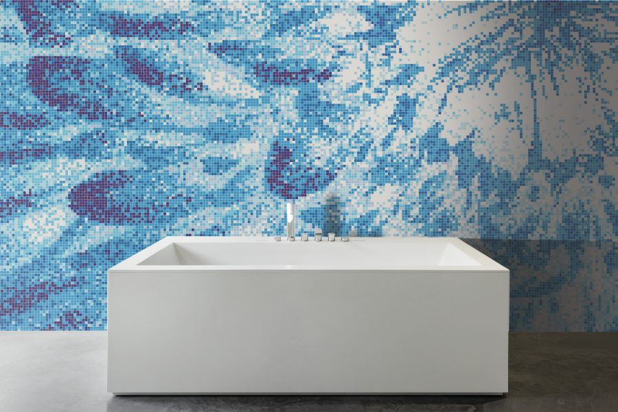 Blue blooms tile mural burst cerulean by artaic for Custom mosaic tile mural