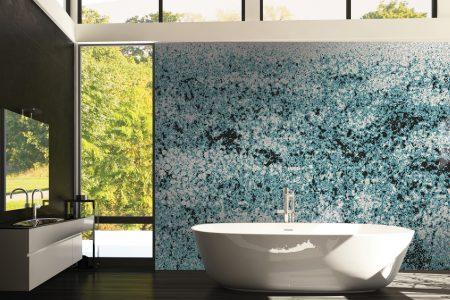 Blue meadows Modern Floral Mosaic installation by Artaic