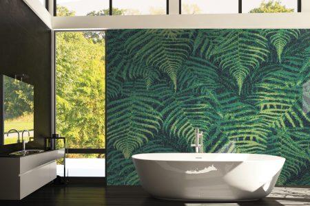 Green ferns Modern Floral Mosaic installation by Artaic
