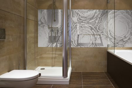 Grey ornamental Modern Floral Mosaic installation by Artaic