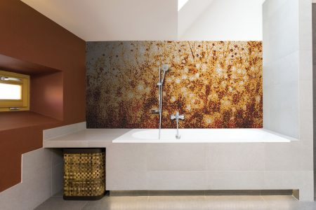 Red Flowers Modern Floral Mosaic installation by Artaic