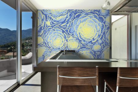 Blue ornamental Modern Floral Mosaic installation by Artaic