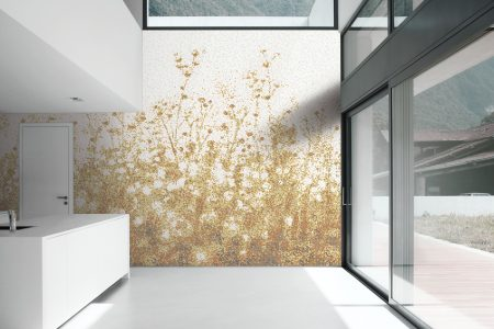 Gold Flowers Modern Floral Mosaic installation by Artaic