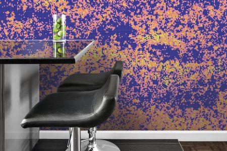 Purple meadows Modern Floral Mosaic installation by Artaic