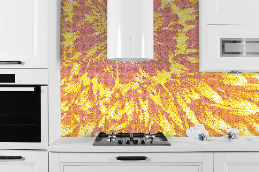 Yellow blooms tile mural burst lemonade by artaic for Custom mosaic tile mural