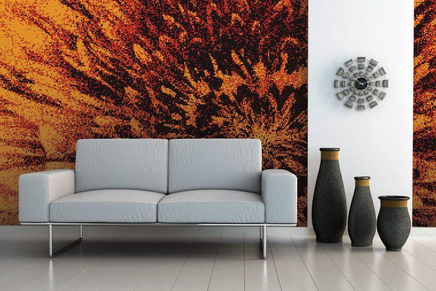Red blooms tile mural burst molten by artaic for Custom mosaic tile mural