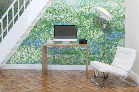 Green meadows Modern Floral Mosaic installation by Artaic