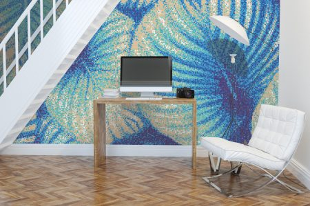 Tan forest canopy Modern Floral Mosaic installation by Artaic