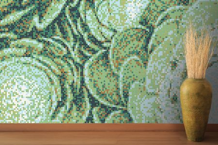 Green ornamental plants Modern Floral Mosaic installation by Artaic