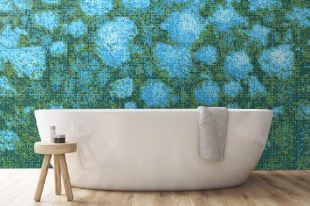 Green hydrangeas Modern Floral Mosaic installation by Artaic