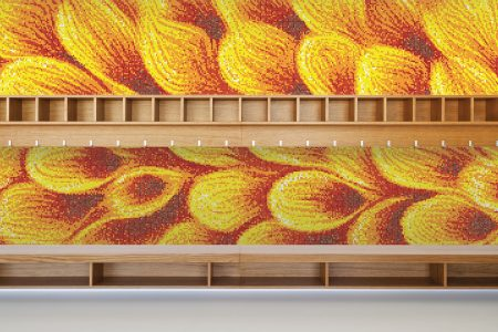 Yellow flower petals Modern Floral Mosaic installation by Artaic