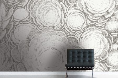 Grey ornamental Modern Floral Mosaic installation by Artaic