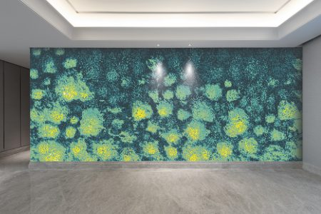 Yellow hydrangeas Modern Floral Mosaic installation by Artaic