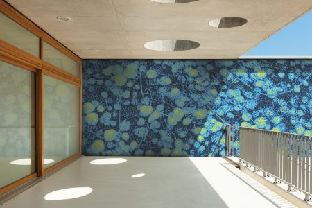 Blue groundcover plants Modern Floral Mosaic installation by Artaic