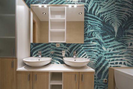 Blue ferns Modern Floral Mosaic installation by Artaic