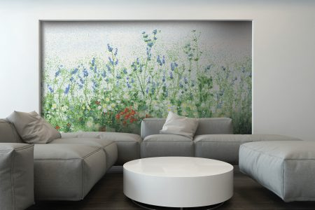 Green Flowers Modern Floral Mosaic installation by Artaic