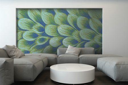 Green flower petals Modern Floral Mosaic installation by Artaic