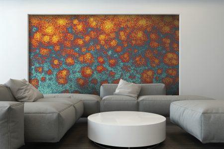 Multi hydrangeas Modern Floral Mosaic installation by Artaic