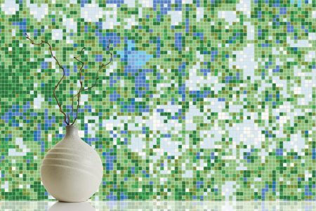 Green meadows Modern Floral Mosaic installation by Artaic