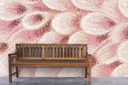 Pink flower petals Modern Floral Mosaic installation by Artaic