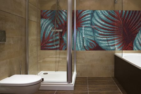 Red forest canopy Modern Floral Mosaic installation by Artaic