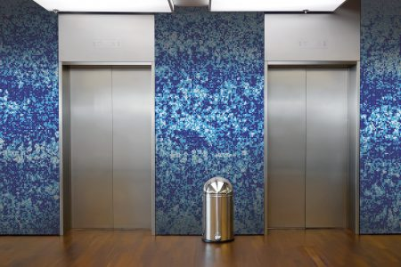 Blue meadows Modern Floral Mosaic installation by Artaic