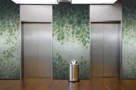 Green vines Modern Floral Mosaic installation by Artaic