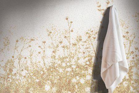 Gold Flowers Modern Floral Mosaic installation by Artaic