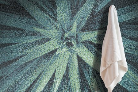 Green spider mums Modern Floral Mosaic installation by Artaic