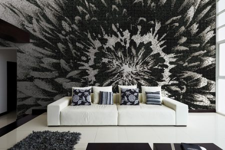 Black Blooms Modern Floral Mosaic installation by Artaic