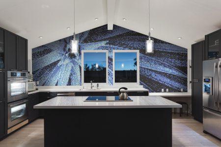 Blue spider mums Modern Floral Mosaic installation by Artaic