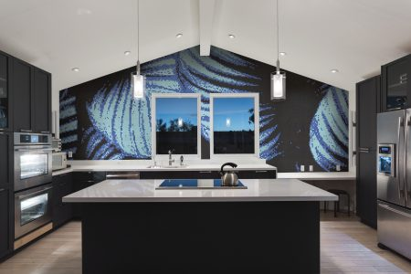 Blue forest canopy Modern Floral Mosaic installation by Artaic