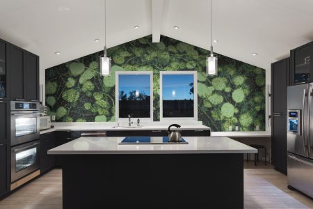 Green groundcover plants Modern Floral Mosaic installation by Artaic