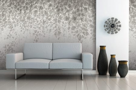 Grey vines Modern Floral Mosaic installation by Artaic