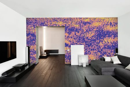 Purple meadows Modern Floral Mosaic installation by Artaic