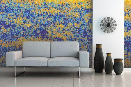Yellow meadows Modern Floral Mosaic installation by Artaic
